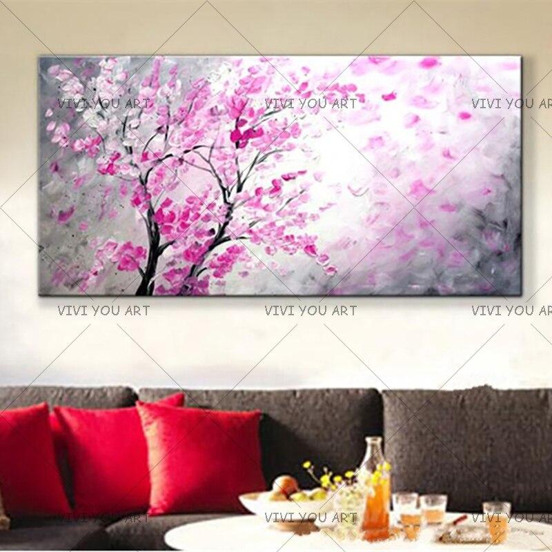 100% ручная работа, современный абстрактный фиолетовый цветок, пейзаж, картина маслом на холсте, ручная работа, картины на стене, искусство дл