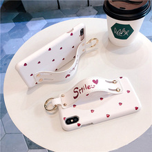 PU Leather Case with Holder Grip for iPhone XS XR MAX X 7 plus 8 6s plus6s Love Heart Patterned Hard Wrist Strap