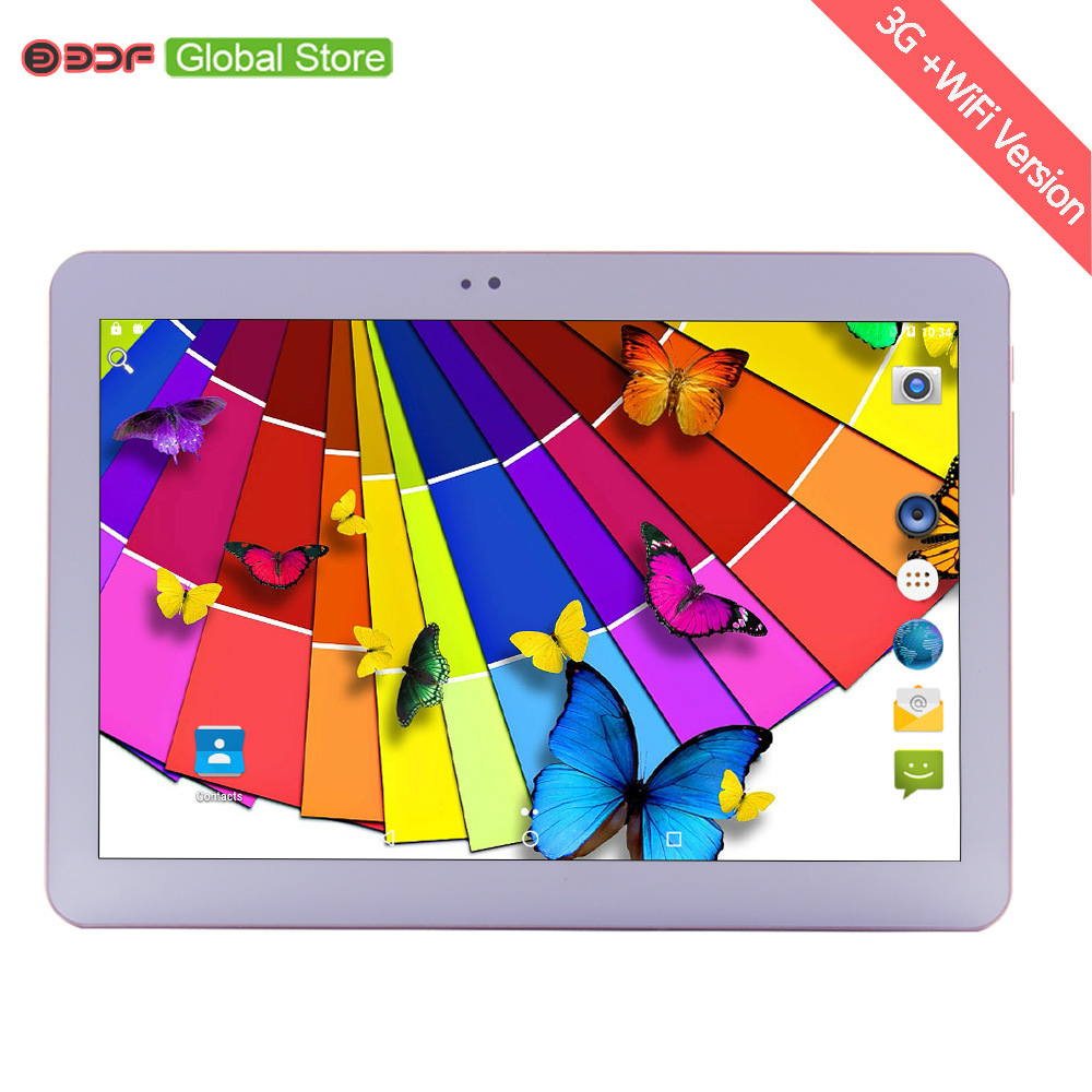 цена на 10 Inch Android 6.0 Quad Core 1GB RAM+16GB ROM Tablets PC 3G Sim Card Mobile Phone Call Video Call Tablet Pc 1280*800 IPS Screen