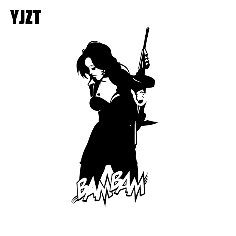 Special Section Yjzt 7.3*15cm Bam Gun Girl Covering The Body Car Sticker Vinyl Good Quality Decals Fashion Black/silver C20-0135 Moderate Cost Car Stickers Automobiles & Motorcycles