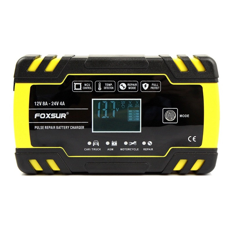 Foxsur 12V 8A 24V 4A Pulse Repair Charger With Lcd Display, Motorcycle & Car Battery Charger, Agm Gel Wet Lead Acid Batteries