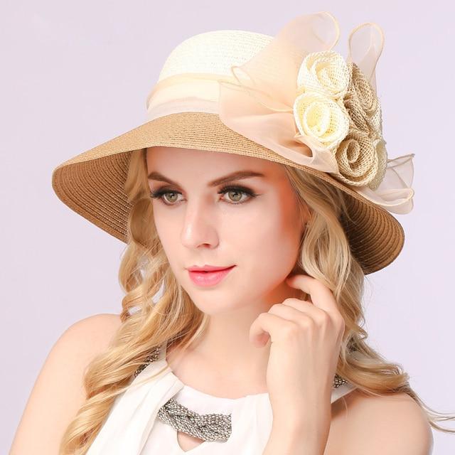 Европа и соединенные Штаты шляпа солнца Женский большой краев шляпа летом вс цветок шляпа пляж шляпа