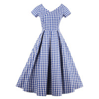 Vintacy Plaid Party Dress Women Elegant Vintage V Neck Sexy A Line Dress Lady Retro Backless
