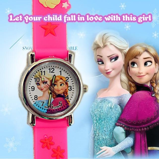 Fashion Cute Hello Kitty Children Watches Cartoon Elsa Anna Princess Girls Kids