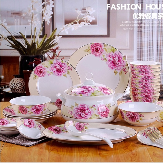 Jingdezhen 58 pieces western style Phnom Penh ceramic tableware set wholesale ceramic tableware bowls and & Jingdezhen 58 pieces western style Phnom Penh ceramic tableware set ...