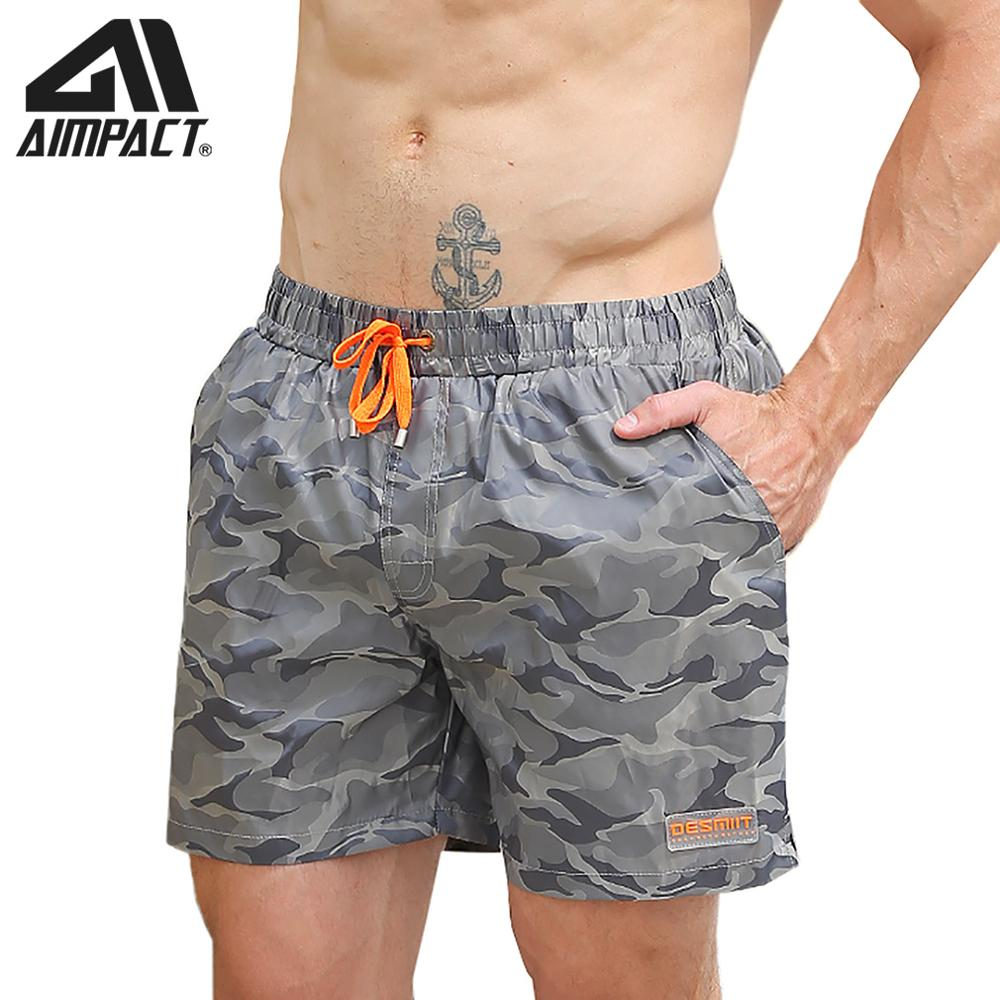 Aimpact Fast Dry Men's Board Shorts With Lining Sexy Drawstring Surf Swim Trunks Camouflage Male Beachwear Running Hybird Short
