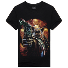 New 2015 Skull&Gun One-Neck Plus Size 3d Hip Hop T Shirt , Famous Brand Black XXXL Summer T Shirt Men Clothing Famous Brand