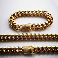 8/10/12/14mm Hip Hop Stainless Steel Mens Gold CZ Miami Cuban Link Chain Necklace Bracelet Rhinestone Clasp Rock Jewelry sets