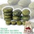new 16pcs/set green jade body massage hot stone SPA with canvas CE and ROHS 4pcs(5x8)+4pcs(6x8)+8