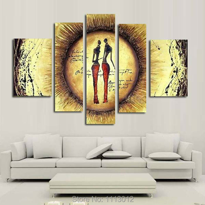<font><b>Hand</b></font> <font><b>Painted</b></font> Coconut 5 Piece Set <font><b>Nude</b></font> Women Yellow Sunset Line <font><b>Oil</b></font> <font><b>Painting</b></font> <font><b>On</b></font> Canvas <font><b>Modern</b></font> <font><b>Abstract</b></font> Home Wall Decoration Art