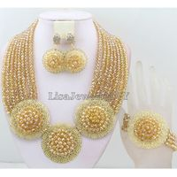 Handmade Indian African Wedding Jewelry Sets Nigerian Beaded Wedding Bridal Necklace Jewelry Sets Free Shipping HD6298