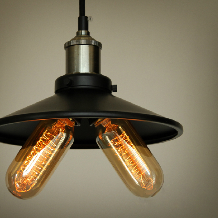 ФОТО Vintage Metal  Pendant Light Max 120W With 2 Lights Black With Copper Finish