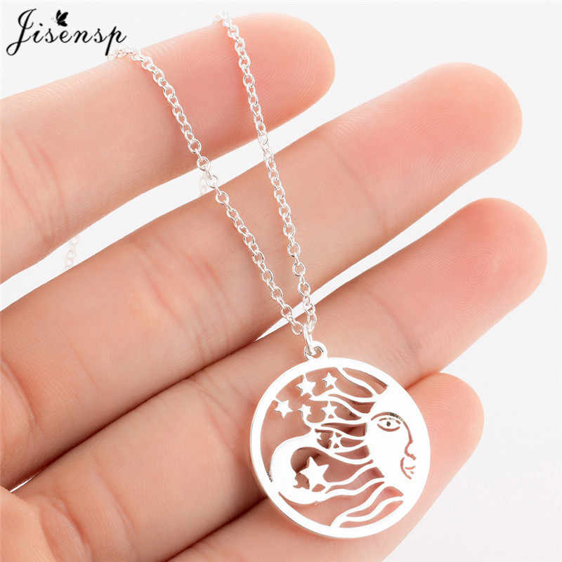 Jisensp Cute Astrology Medallion Star Moon Pendant Necklace for Girls Women Jewelry Simple Round Stainless Steel Necklaces kolye