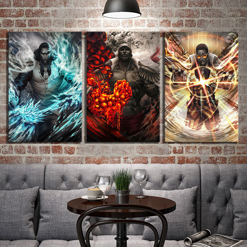 With Frame 3 Piece HD Picture Navy Headquarters Senior General ONE PIECE Anime Poster Canvas Painting for Home Decor Wall Art 1