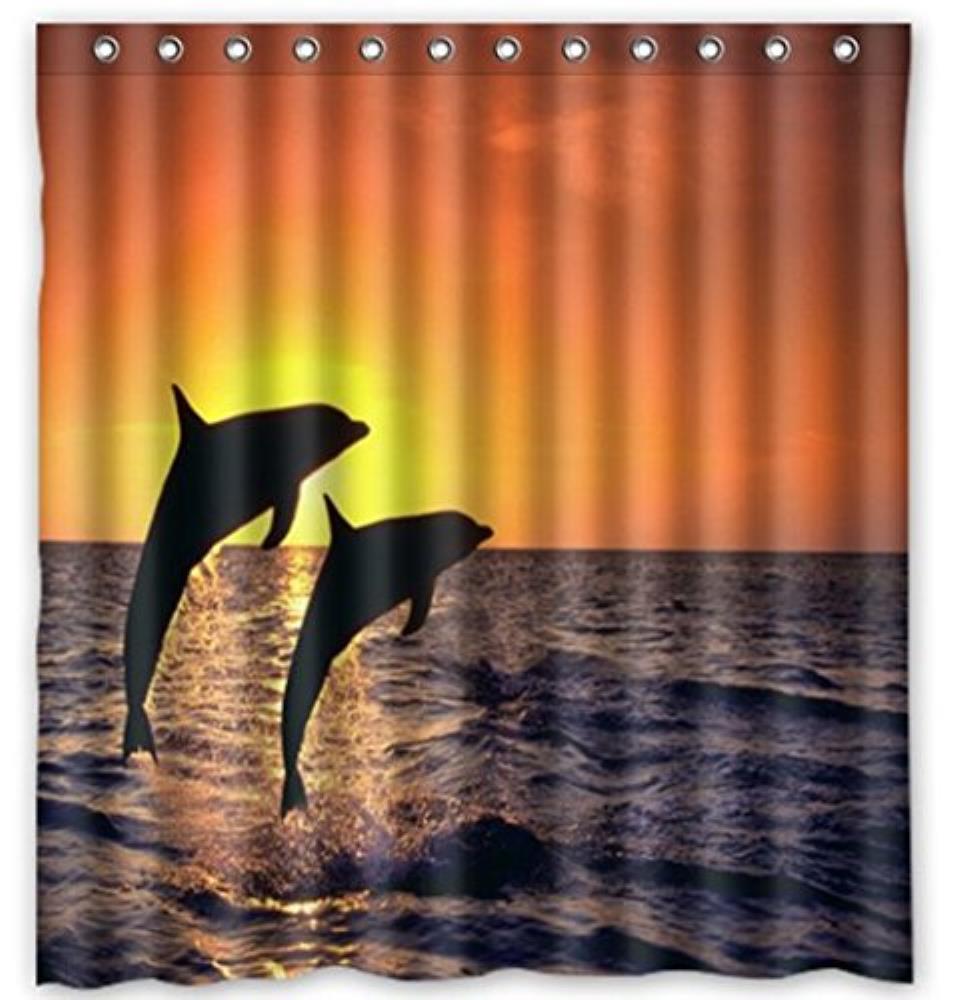 Underwater World Dolphin Custom Shower Curtain Pattern Waterproof Fabric Shower Curtain For Bathroom 66*72inch
