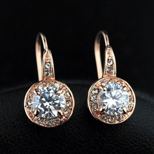 GR.NERH Brand Jewelry Rose Gold 1ct Round CZ Stone Hook Earrings High quality jewelry wholesale (CRE-755 52# AB)