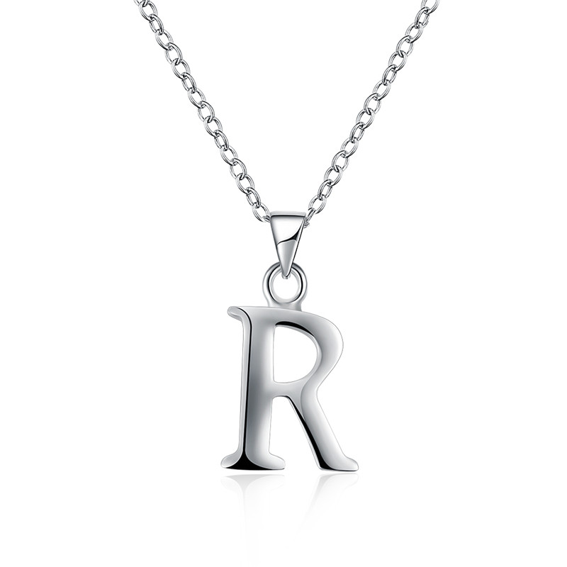 Silver Plated Necklaces Pendants Alphabet Initial Necklace