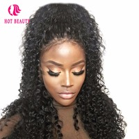 Hot Beauty Hair 360 Lace Frontal Wig Pre Plucked 250 Density Curly Lace Front Wig With Baby Hair 14 24 Inch Brazilian Remy Hair