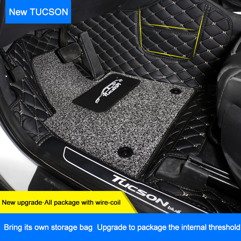 QHCP Microfiber Leather 2 Layers Car Floor Mat Wire Mat Foot Boot Carpets Car-styling Fit For Hyundai Tucson 2015 2016 2017 2018 colts car floor mat set of 2 nfl