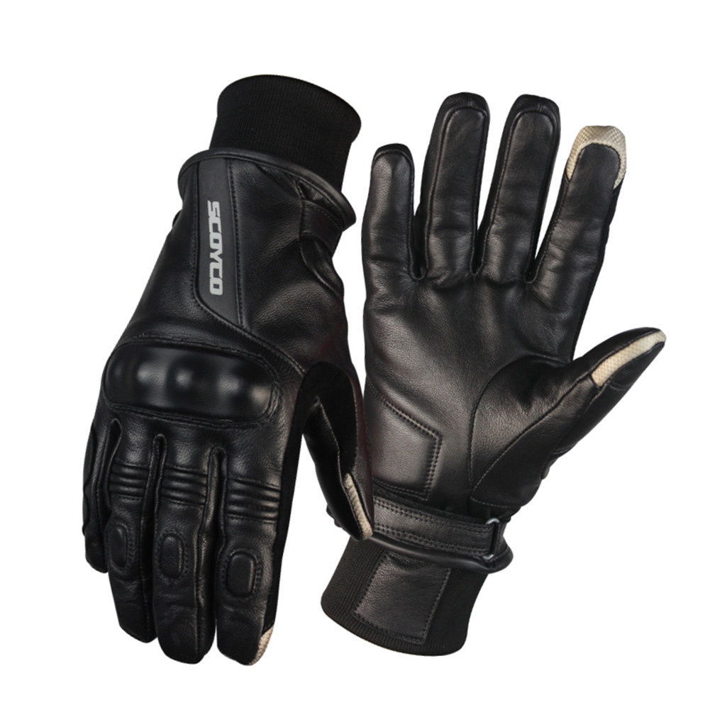 Goat Leather Retro Motorcycle gloves Protective Shell For Men Keep Warm Windproof Gloves Moto Racing Touch Screen Glove Black universal motorcycle windproof warm glove black orange