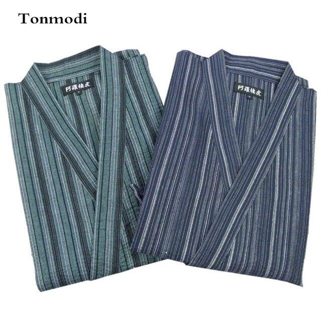 Pajamas Men Kimono Pajama Set Bathrobe Stripe 100% Cotton Sleepwear Pyjamas Men Lounge Pajama Set