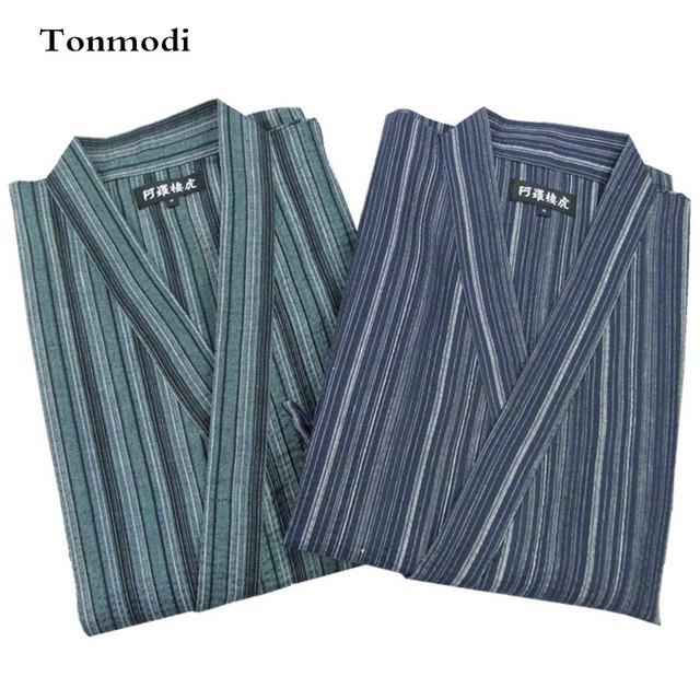 Pijamas Homens Kimono Conjunto de Pijama Roupão Tarja 100% Algodão Sleepwear Homens Pijamas Set Lounge Pijama