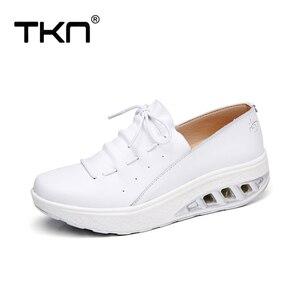 Image 4 - TKN 2019 jesień kobiety trampki buty prawdziwej skóry kobiet wiązane płaskie buty platformy buty Chaussures Femme buty kobieta 7688
