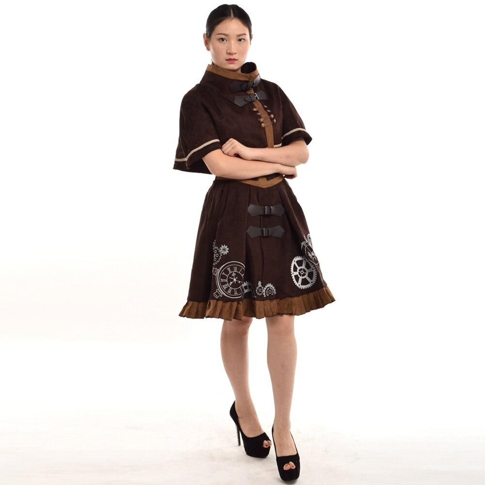 Fantasy Women Victorian Dress Retro Steampunk Timeturner Mini Cape JSK Outfit