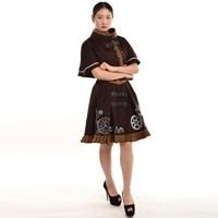 Fantasy Women Victorian Dress Retro Steampunk Timeturner Mini Cape+JSK Outfit