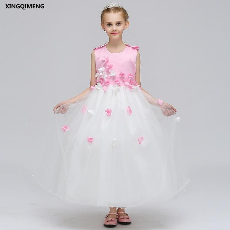 In Stock Long Pink Beaded Flower Girl Dress for Weddings 3-12Y ...