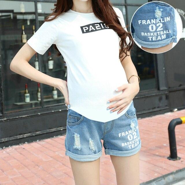 2016 de Maternidad Del Verano pantalones Cortos Pantalones Vaqueros de Las Mujeres Embarazadas Pantalones Vaqueros De Maternidad Pantalones Cortos de Mezclilla Cintura Elástica pantalones de Mezclilla Corto B50