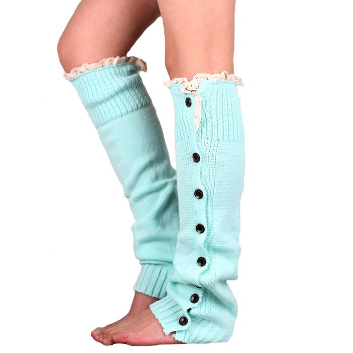 Winter Warm Knitted Lace Trim Buttons Down Leg Warmers Crochet Boot Socks Children Pink Boot Cuffs