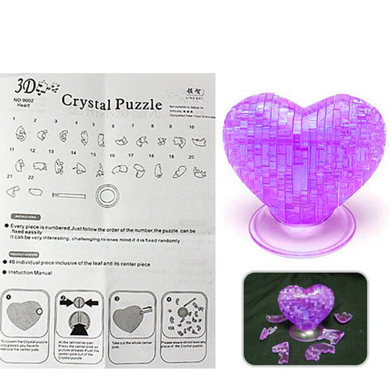 Creative 3d Crystal Furnish Heart Jigsaw Puzzle Iq Gadget Purple