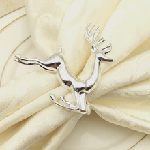 12PCS hotel set table Christmas gold silver deer napkin buckle ring cloth paper towel
