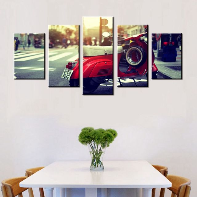 London Red Motorcycle Car Painting HD Print Artwork Bar Pub Home ...