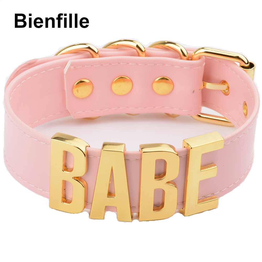Pink BDSM Fetish Bondage Collar Necklace Cosplay Harajuku Gothic Babe Choker 100% Handmade Silver Letter Word Name Choker Women