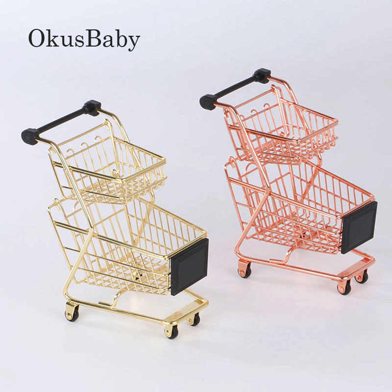 684fcd933 2019 New Creative Mini Double Layers Shopping Cart Model Wrought Iron  Supermarket Trolley Vogue Metal Rose