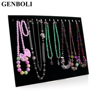Hot Black Velvet 17 Hook Necklace Display Stand Women Jewelry Organizer Holder Storage Case Bracelet Display