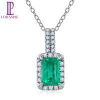 Lohaspie Solid 18K White Gold 0 73ct Natural Emerald Single Cut SI1 Diamonds Pendant Necklace For