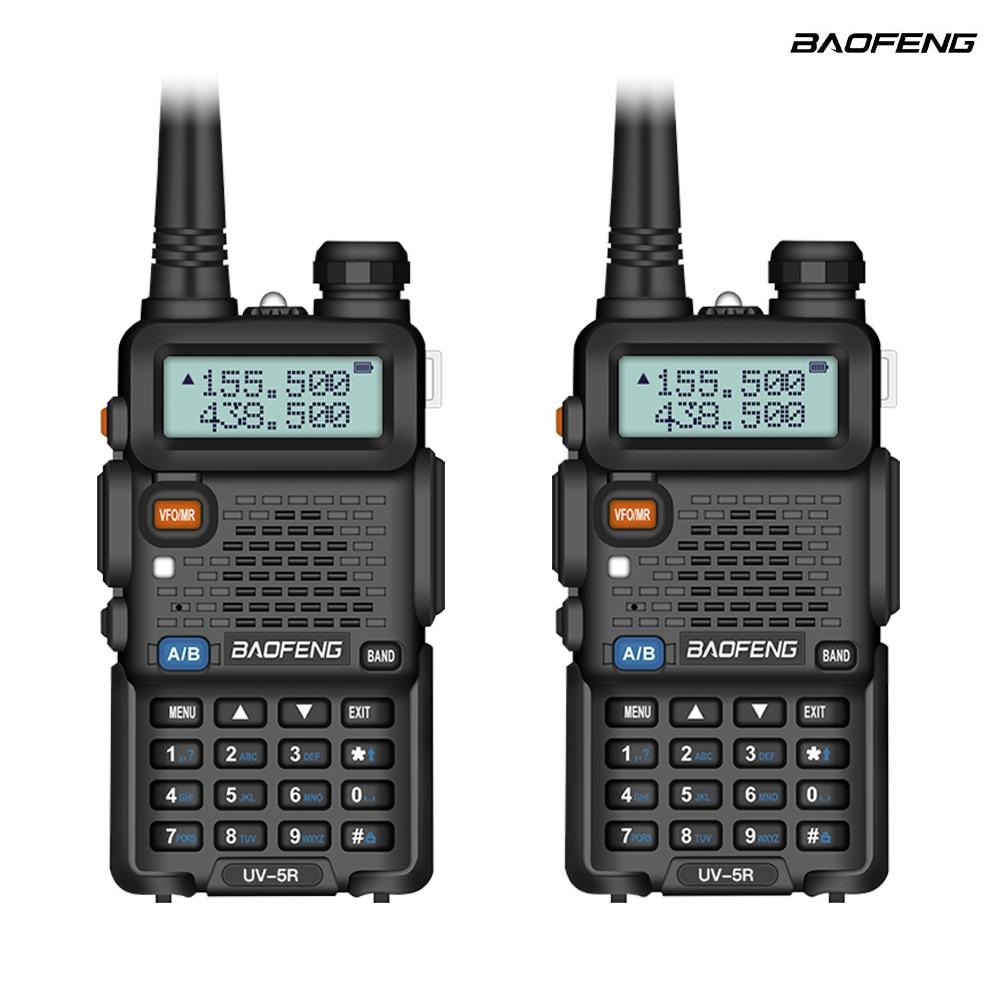 2Pcs Baofeng UV-5R Two Way Radio Mini Portable 5W Dual Band VHF UHF Walkie Talkie UV5R FM Transceiver Hunting Ham Radio Scanner