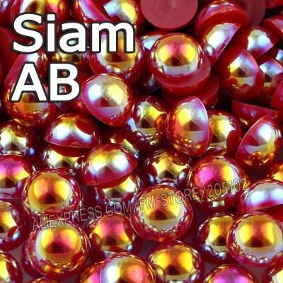 Siam AB Red Half Round bead Mix Sizes 2mm 3mm 4mm 5mm 6mm 8mm 12mm imitation ABS Flat back Pearl DIY Nail jewelry Accessory