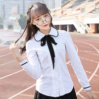 British Academy wind cotton long sleeved sweet white shirt Korean doll collar shirt ladies spring and autumn fresh lining