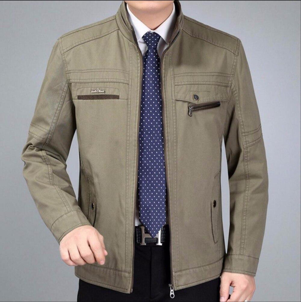 Hommes Couleur Montant Moyen Automne L Et Green Veste Coton kaki Nouveaux Vêtements Printemps La Army Col D'âge Casual 6xl Taille Solide Père Plus wqwXfFz7
