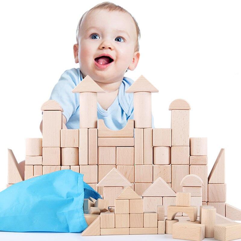 100 pièces bricolage bois construction blocs de bois jouets enfants éducatifs apprentissage famille jeux jouet grognons lumières jouets pour enfants - 2