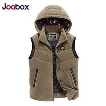 JOOBOX Brand 2017 Top Mandarin Collar Preppy Style Solid Pockets Winter Cotton Vest Male Men Men's Large Size Waistcoat Jacket