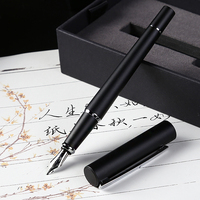 Pimio Fountain Pen Gift Set with Pen Case 0.5mm F Nib Silver Clip Metal Pens for Writing School Office Supplies Stationery