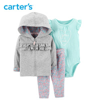 Carters baby girl clothes 3 Piece Cardigan & Legging Set Hooded jacket bodysuit leggings set newborn baby clothing 16624312
