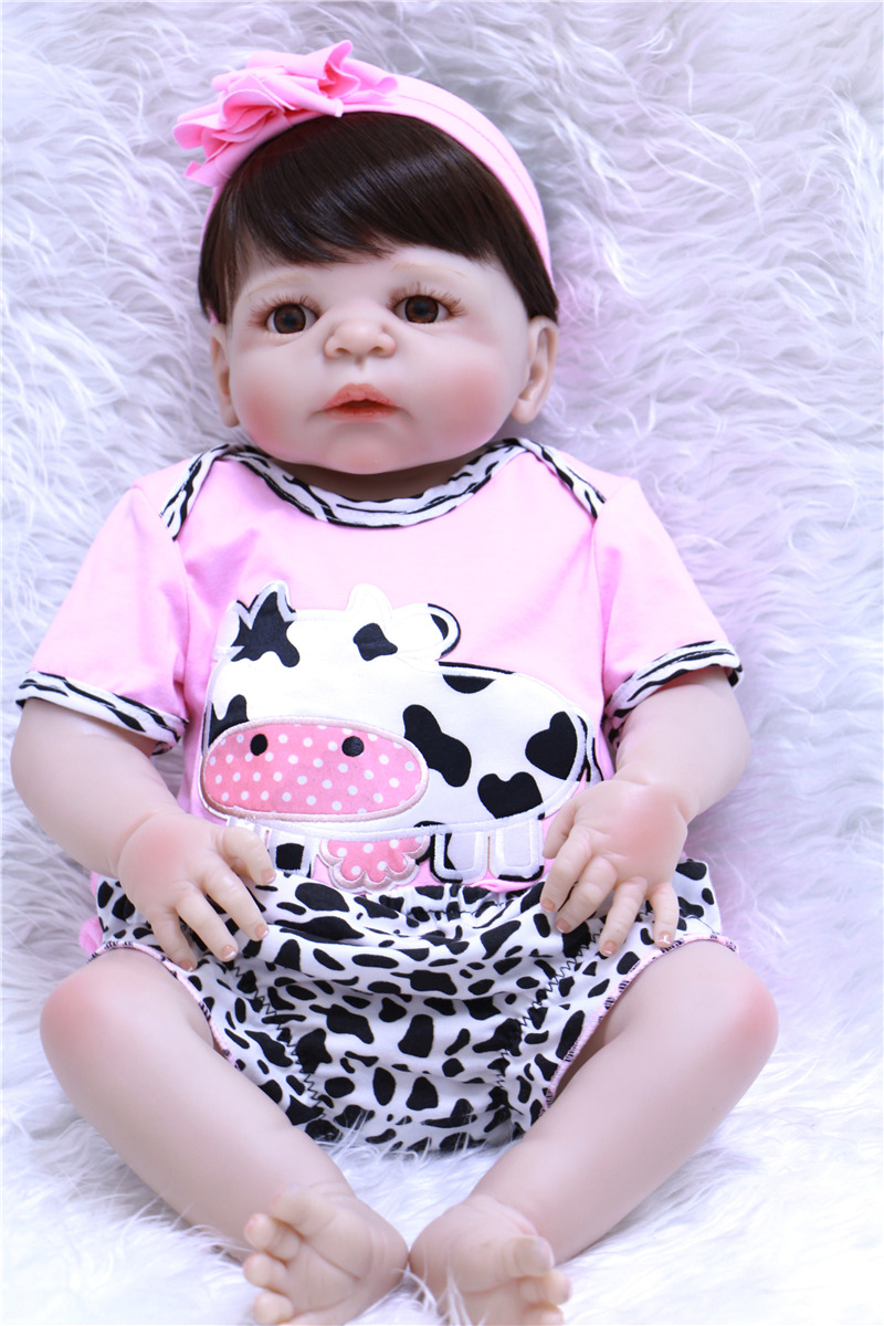 Full Silicone Vinyl Reborn Baby Doll Realistic Girl Babies Dolls 22 Inch 55 cm Lifelike Princess Kids Toy Children Birthday Gift new arrival 23 inch lifelike reborn girl baby doll full silicone vinyl realistic princess dolls kids birthday christmas gift