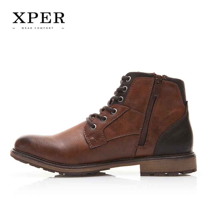 XPER Automne Hiver Hommes Bottes Grande Taille 40-48 Vintage Style Hommes Chaussures Casual Mode Haute-Cut Dentelle-up Chaud Hombre # XHY12504BR - 5