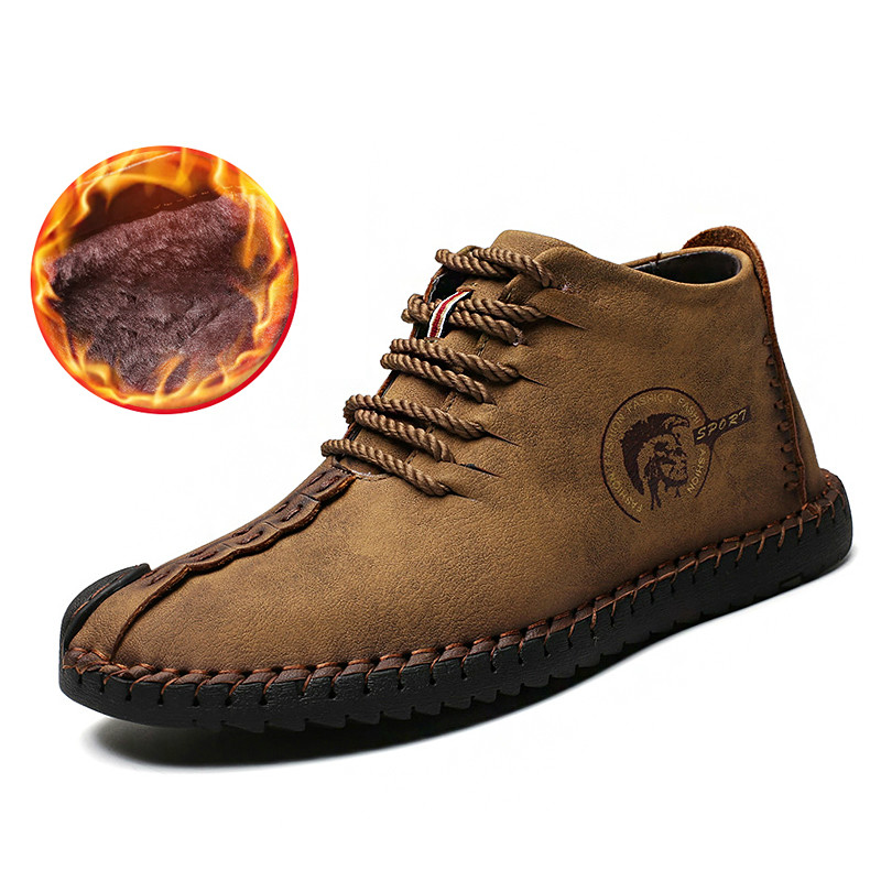 2018 Mens Casual Boots Mens Lace Up Genuine Leather Shoes High Top Autumn Winter Boots Mart Ankle Boots Free Shipping 89027b Basic Boots